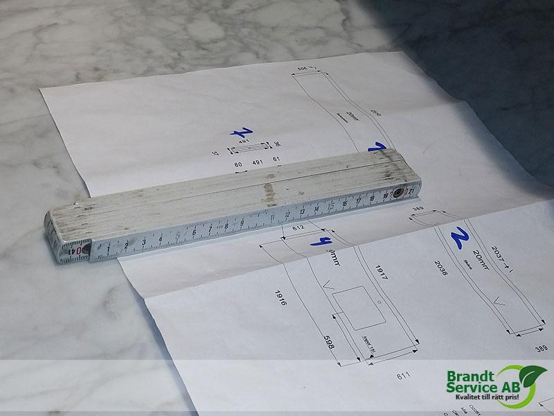 marmor köksbänk ritning